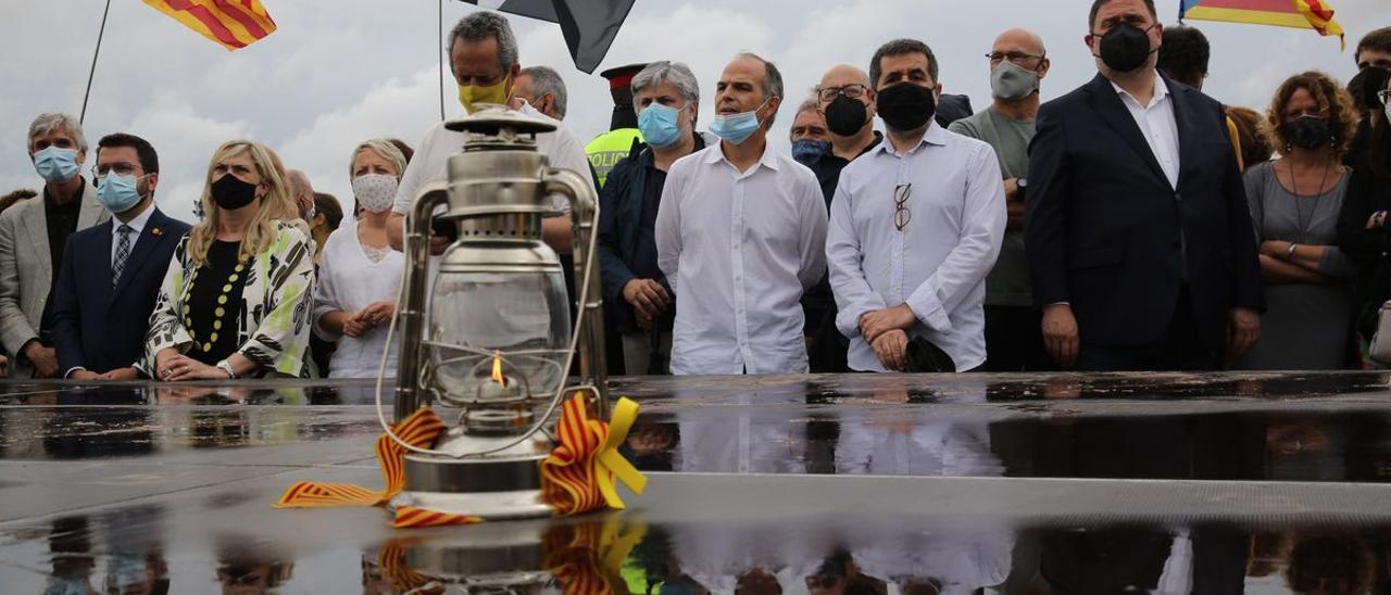 Los presos independentistas, a su salida de la cárcel de Lledoners.