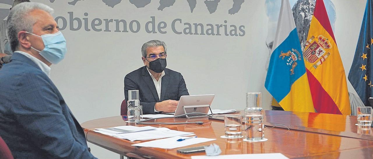 Román Rodríguez, ayer, durante la reunión telemática de la Conferencia Sectorial del Plan de Recuperación, Transformación y Resiliencia.
