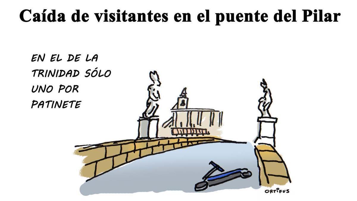 Caída de visitantes por el puente del Pilar