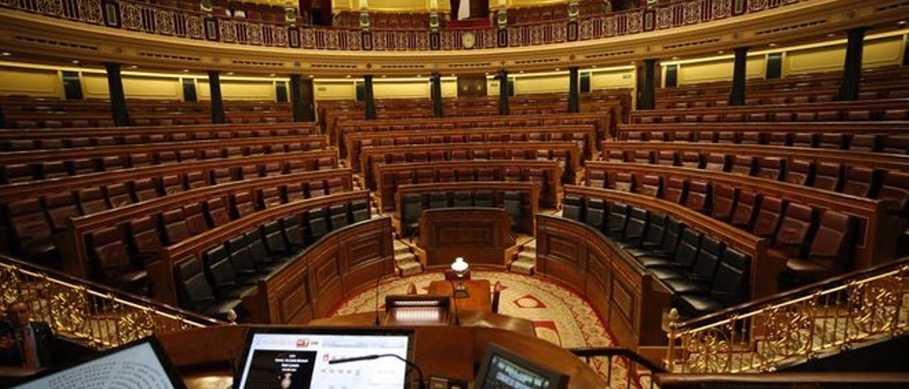 El hemiciclo del Congreso vacío, en una imagen de archivo.