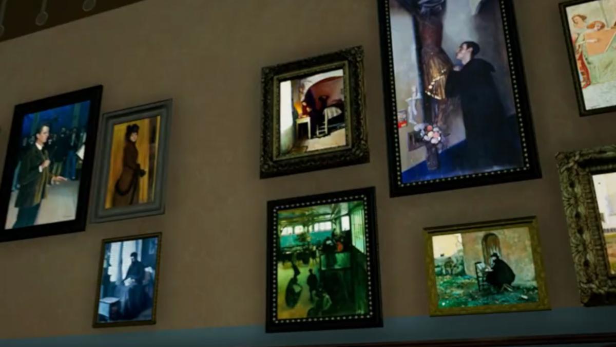 Captura del videojoc Occupy White Walls amb les galeries dels Museus de Sitges