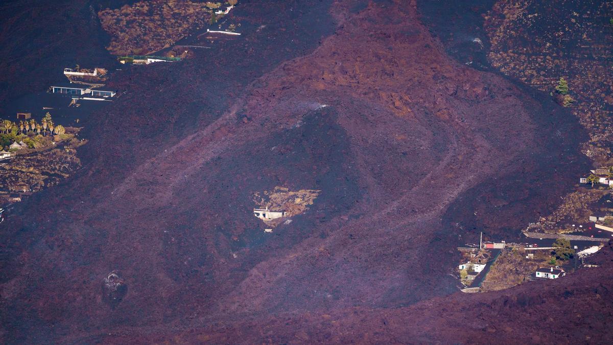 La lava del volcán Cumbre Vieja, a vista de drona