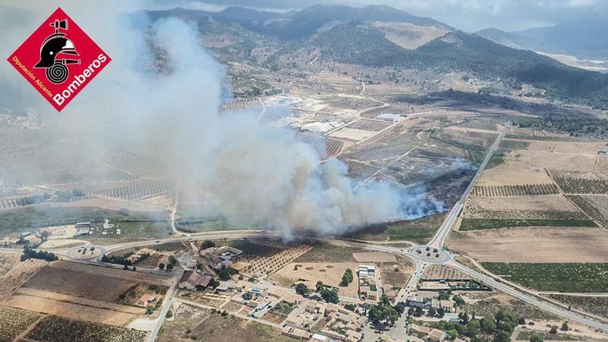 Un incendio forestal en Pinoso afecta al paraje protegido del Humedal del Prado