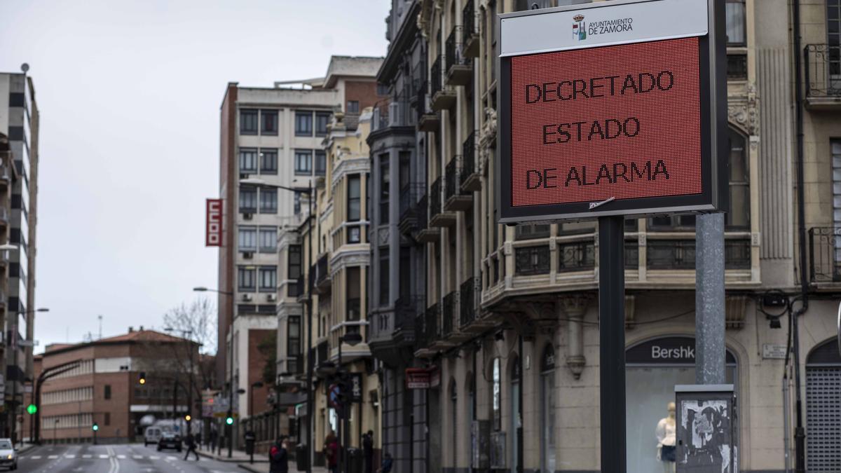 Imagen del estado de alarma decretado en Zamora como en el resto de España por la crisis del coronavirus.