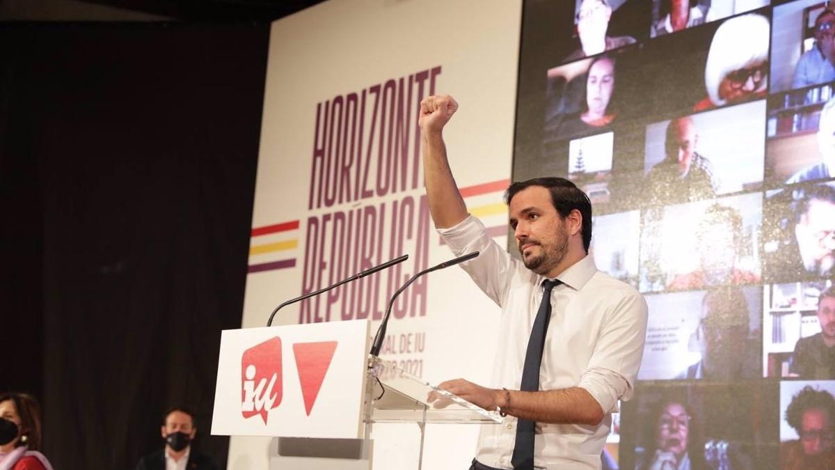 El coordinador federal de IU, Alberto Garzón, durante su intervención en la XII Asamblea Federal