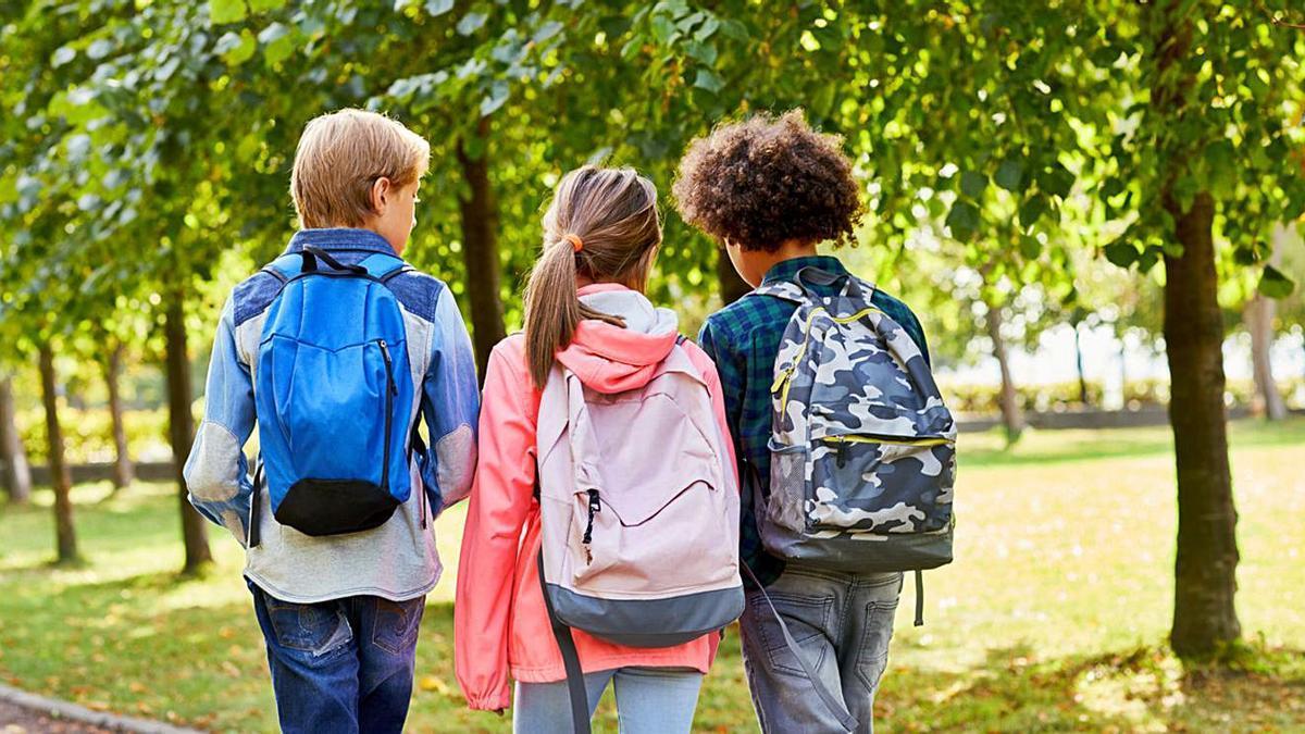 Uns infants amb motxilles penjades a l'esquena. |  ISTOCK.COM