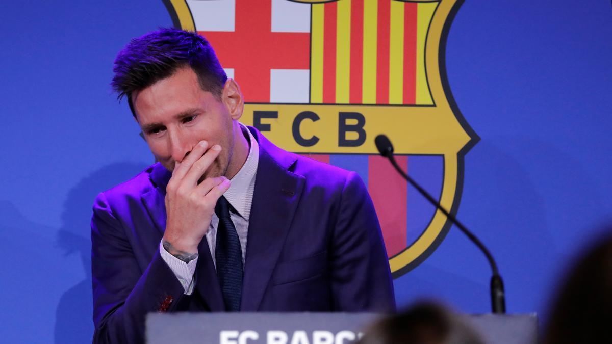 Messi, durant la roda de premsa