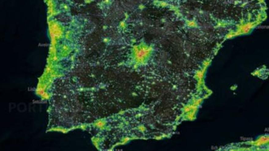 La C. Valenciana, la tercera con más contaminación lumínica