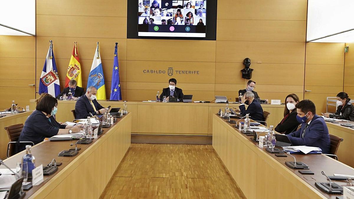 Un momento del pleno celebrado ayer en el Cabildo.