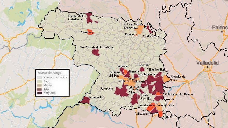 Mapa de coronavirus de Zamora, hoy, sábado | Benavente baja de los cien casos, Toro se acerca a los 300
