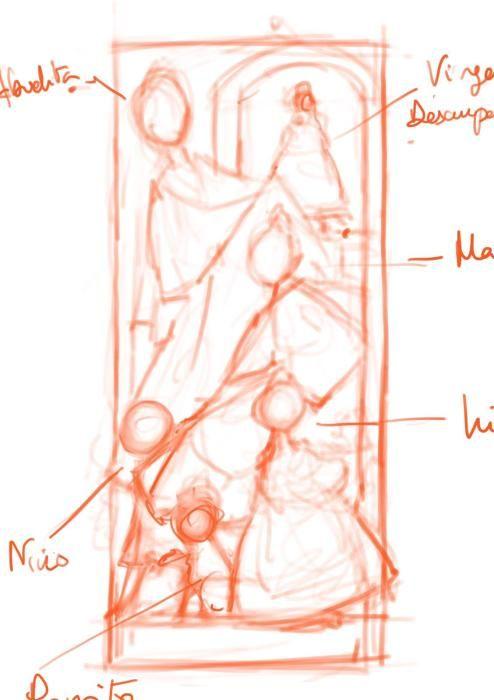 Apunte del primer boceto, en el que puede apreciarse que la composición era diferente inicialmente