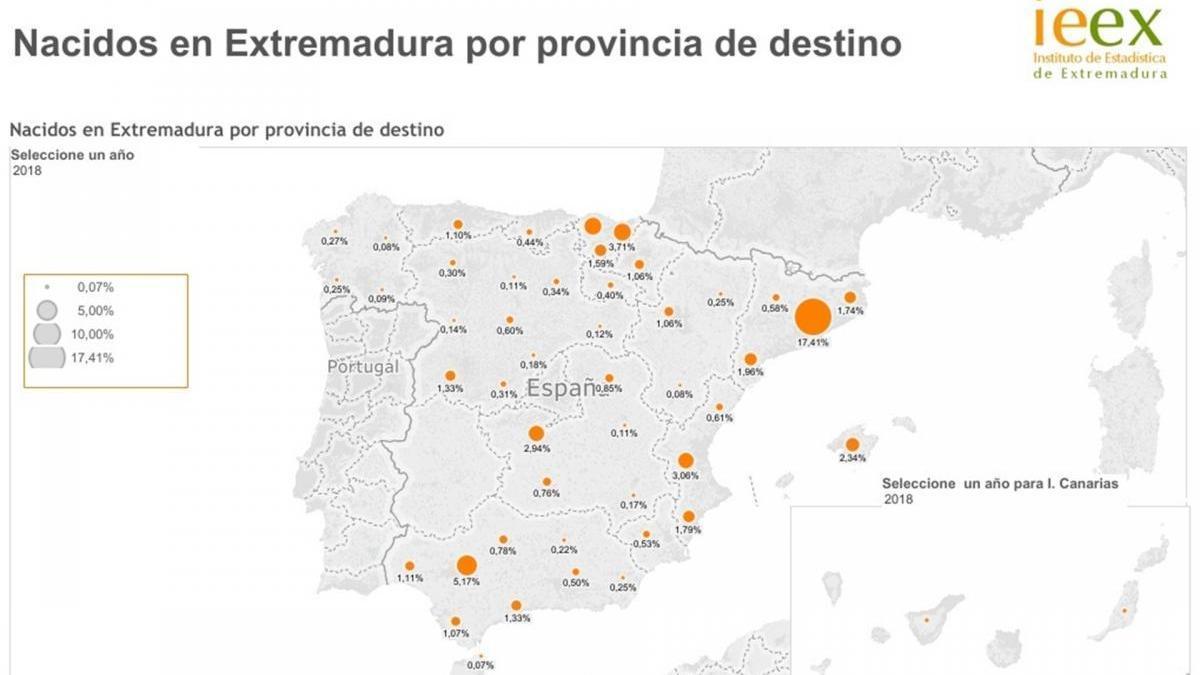548.569 extremeños residían en 2018 en otra comunidad autónoma