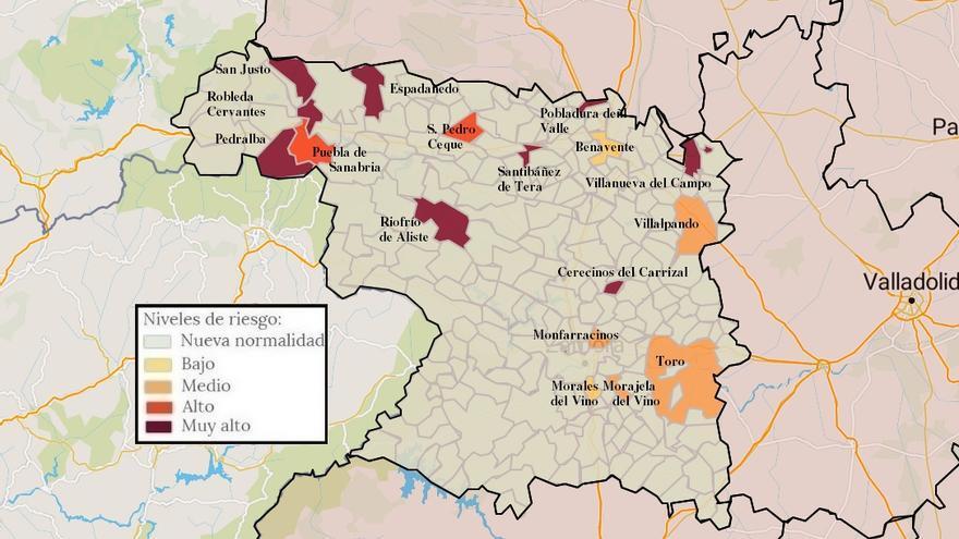 Mapa de coronavirus de Zamora, hoy, miércoles | Fuentesaúco, en zona limpia
