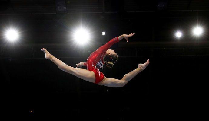 Una gimnasta artística  en el campeonato mundial de Gimnasia Artística 2019