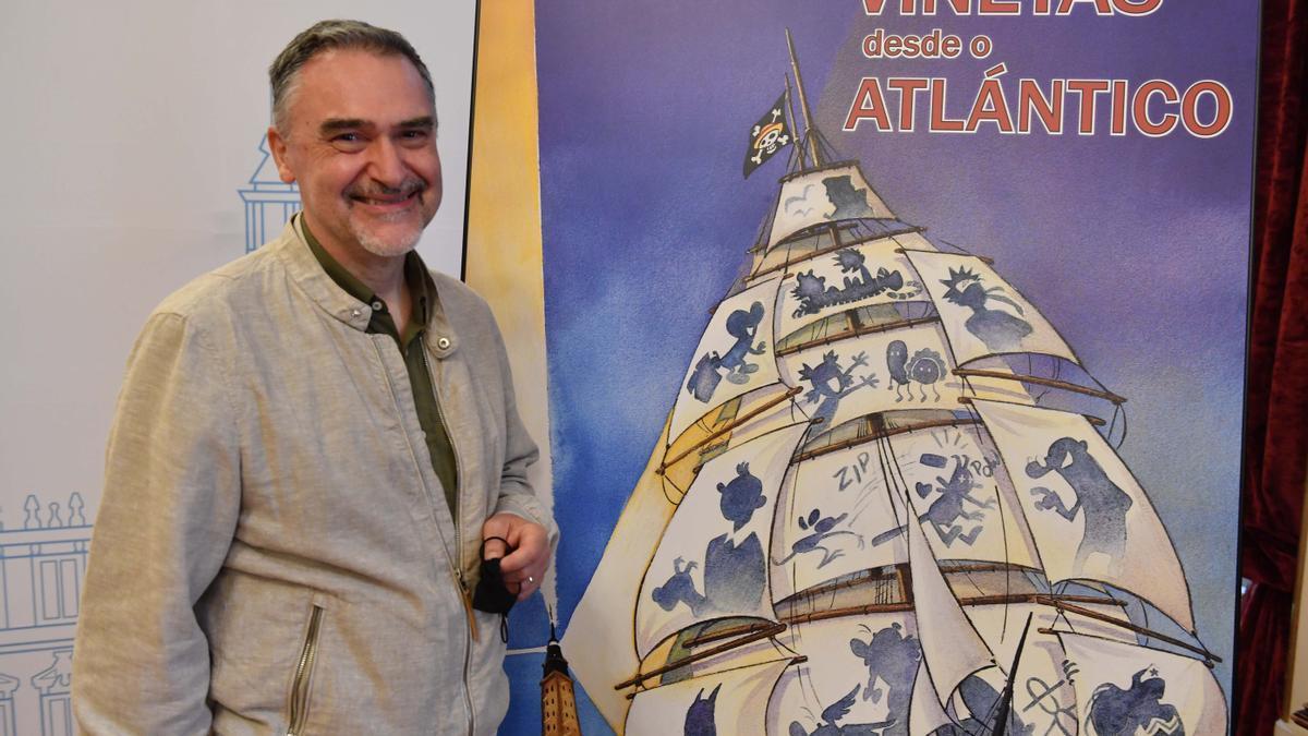 Miguelanxo Prado, diretor de Viñetas desde o Atlántico, hoy en la presentación del salón del cómic de A Coruña.