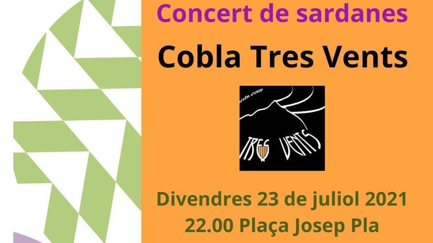 Tres Vents, l'audició de sardanes d'aquest divendres a la plaça Josep Pla de Figueres