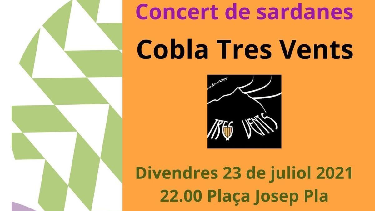 Cobla Tres Vents, divendres 23 de juliol a Figueres