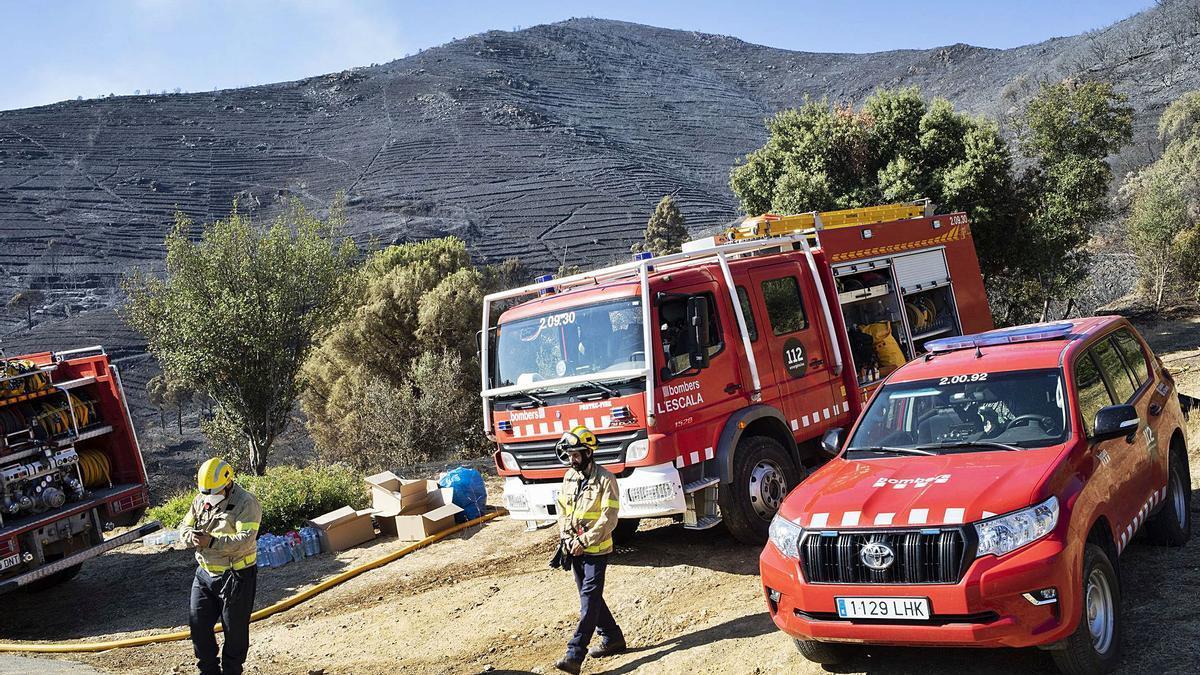 Els equips d'extinció han lluitat a fons per aturar les flames   EDU MARTÍ