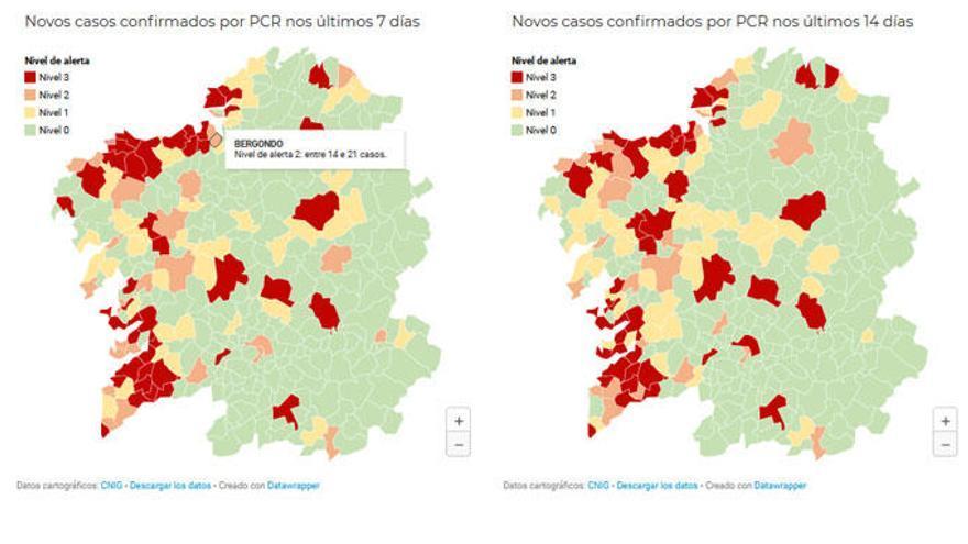 Cinco concellos del área coruñesa en alerta roja y dos en nivel naranja
