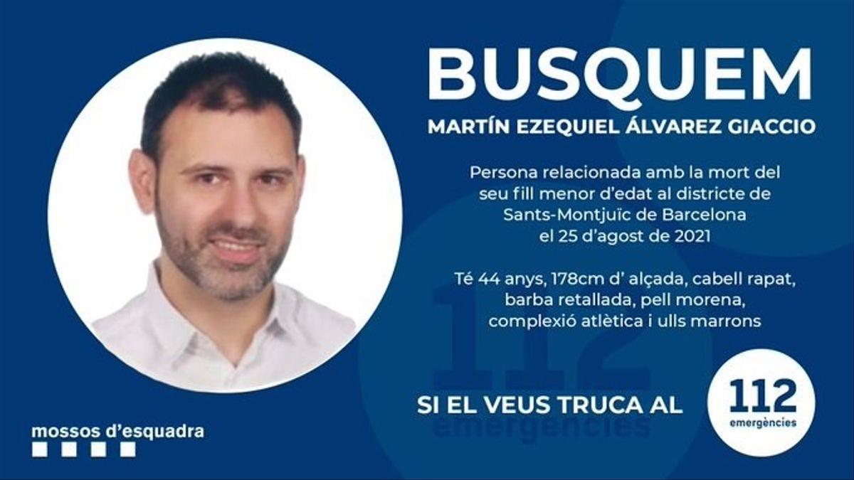 Imagen de Martín Ezequiel Álvarez, difundida por los Mossos d'Esquadra.