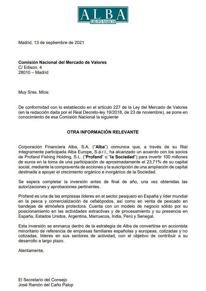 Comunicado de Alba