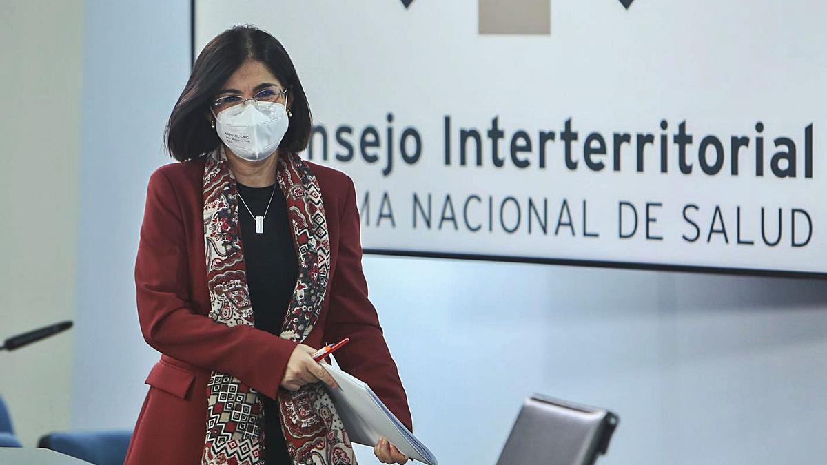La ministra de Sanidad, Carolina Darias, ayer.     // EFE