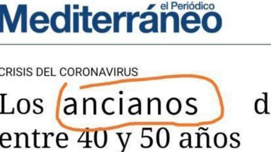 No; 'Mediterráneo' no ha publicado que si tienes de 40 a 50 años eres un anciano