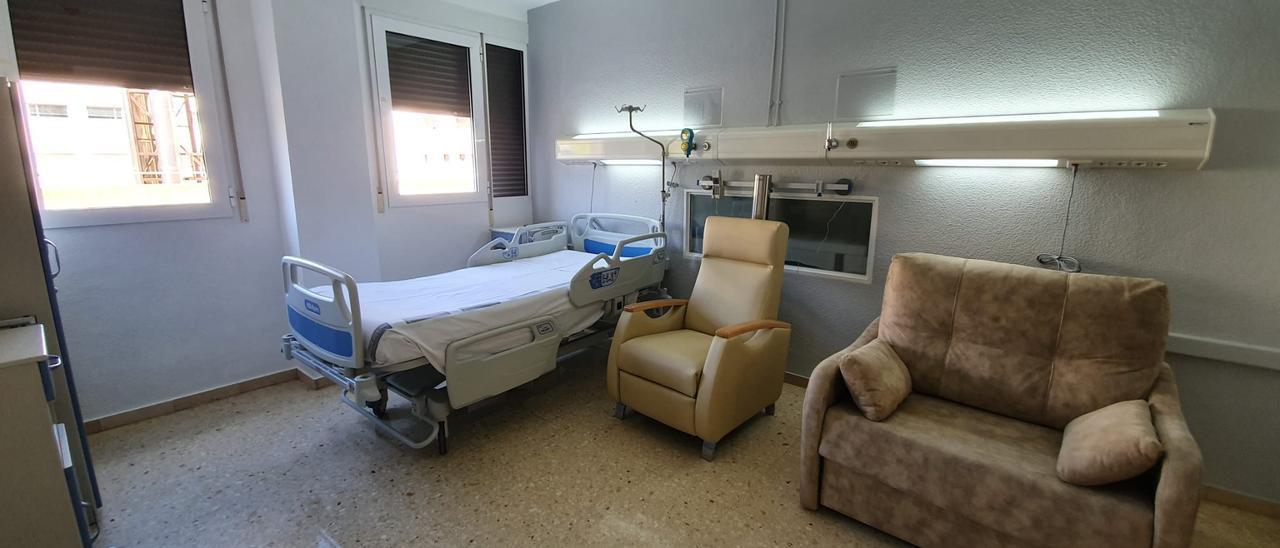 Una de las habitaciones del Servicio de Obstetricia  Hospital de Elda.