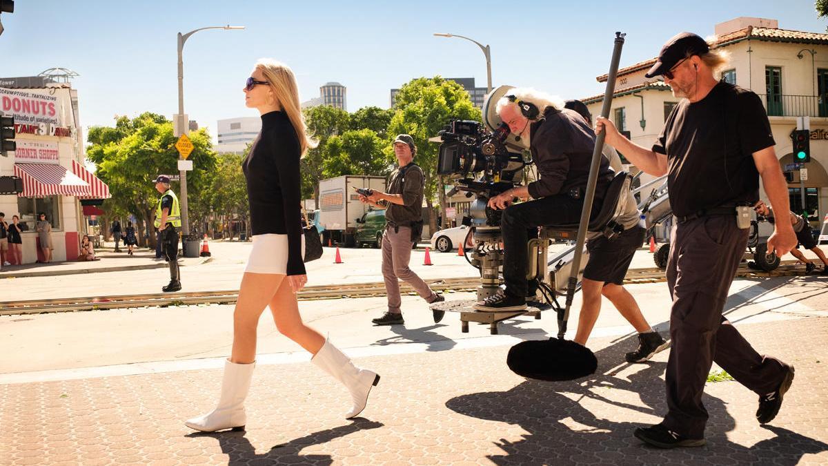 Una imagen del rodaje de la película 'Erase una vez en Hollywood'.