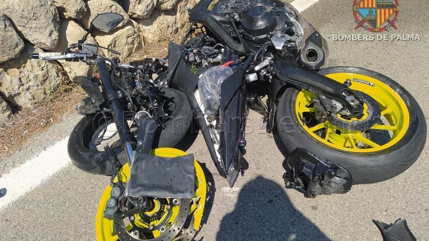 Un motorista sufre graves heridas en la carretera del Coll de sa Creu