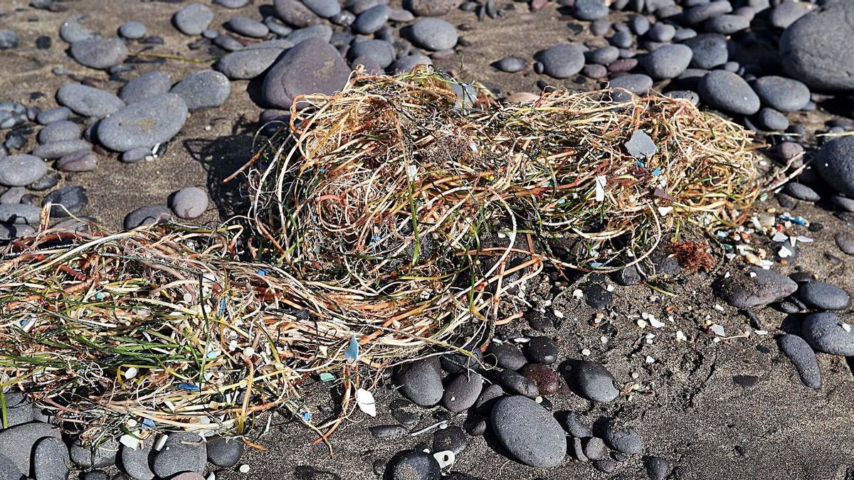 Microplastics on the beach of Famara, in Lanzarote.