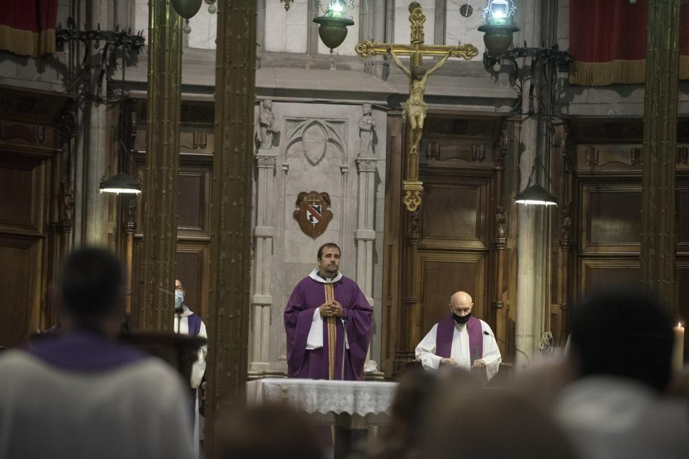 Missa pel  bisbe Pere Casaldàliga a la Catedral  de Solsona amb el  bisbe de Solsona , Xavier Novell