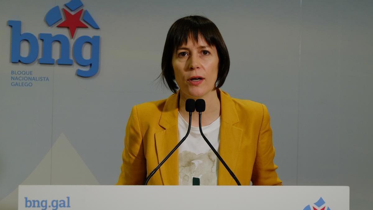 Ana Pontón, durante la rueda de prensa de hoy lunes. // Europa Press