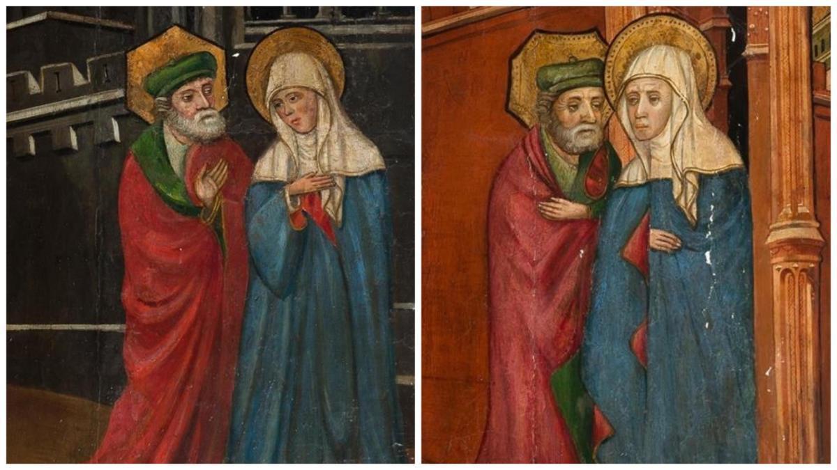 Detall de les dues taules de Lluís Borrassà que seran subhastades