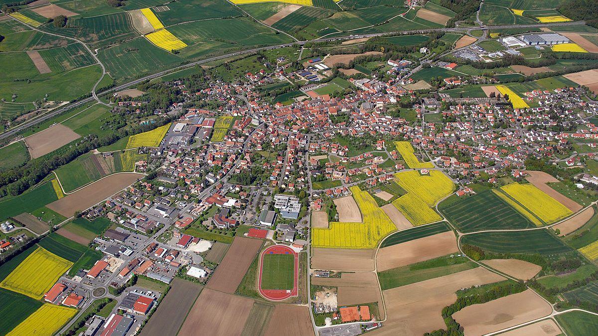 Vista aérea de Schesslitz, en Baviera (Alemania).