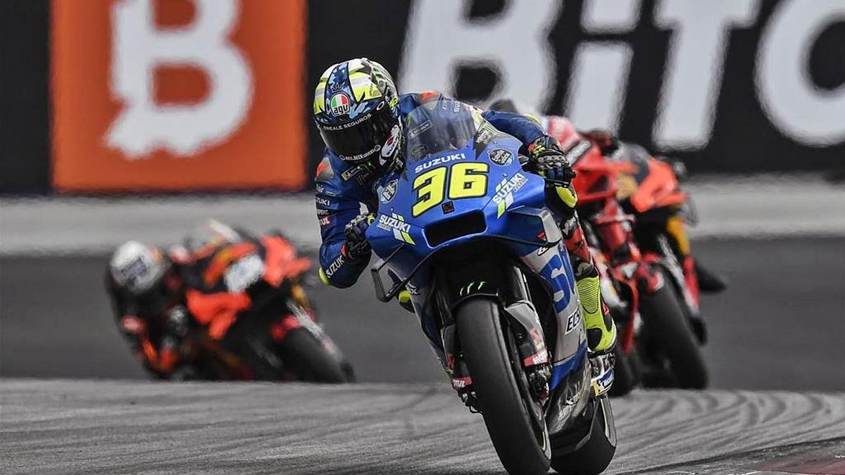 El piloto mallorquín de Suzuki, ayer en el Gran Premio de Austria, en el que finalizó en la cuarta posición por detrás de Binder, Bagnaia y Jorge Martín.   SUZUKI