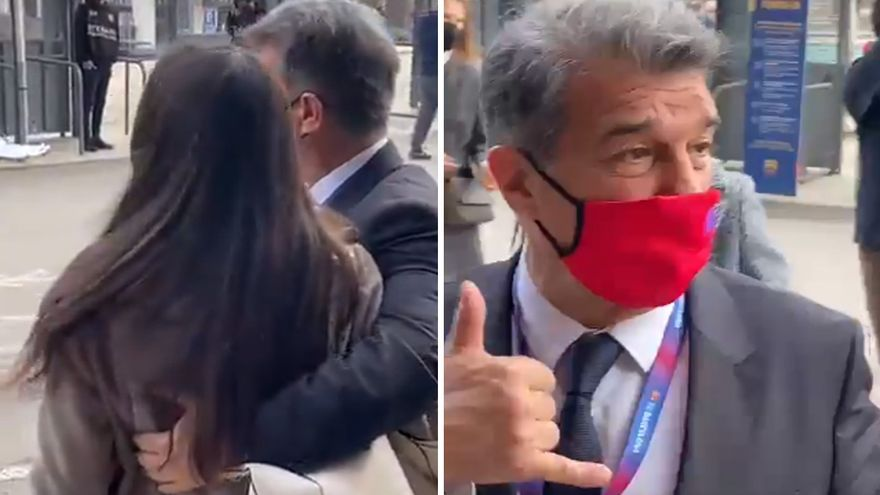 """Laporta defiende que el vídeo viral con una aficionada está """"sacado de contexto"""""""