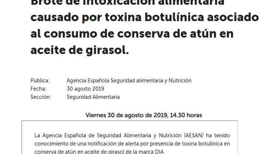 Retiren llaunes de tonyina marca Dia per una intoxicació de botulisme