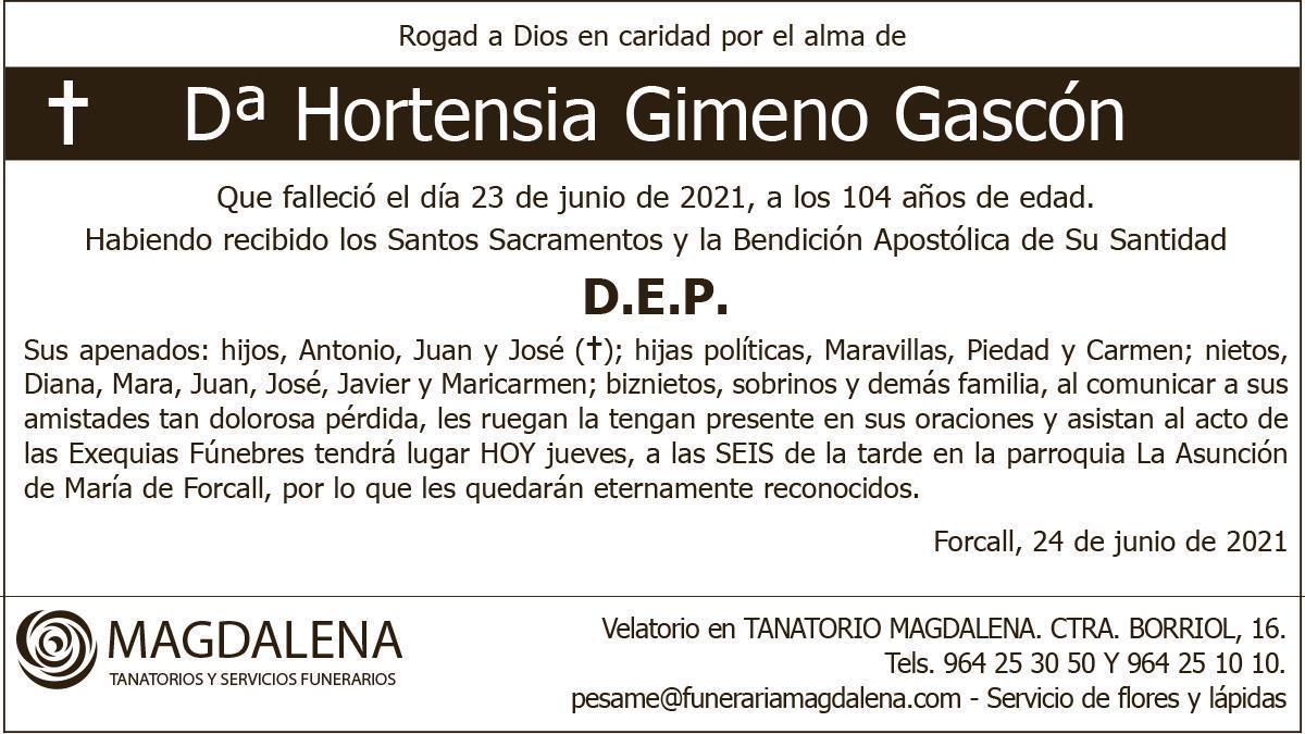 Dª Hortensia Gimeno Gascón
