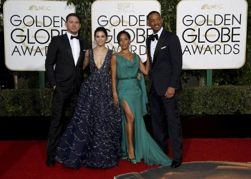 Actors Channing Tatum, Jenna Dewan-Tatum, Will Smith and Jada Pinkett Smith pose on the red carpet as they arrive at the 73rd Golden Globe Awards in Beverly Hills
