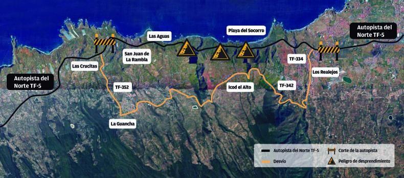 En esta infografía de la zona afectada por los cortes de tráfico, entre Los Realejos y La Guancha, pueden verse las zonas de corte de la circulación en la TF-5