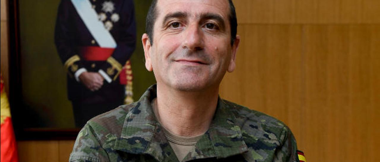 El general Venancio Aguado de Diego, jefe de la Brigada Canarias XVI, ayer.