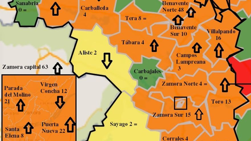 Mapa COVID de Zamora: Fuerte subida de positivos en la capital y Benavente