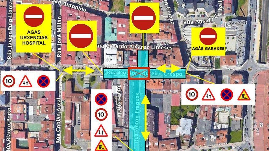 Corte de tráfico en el cruce entre Loureiro Crespo y Antón Fraguas