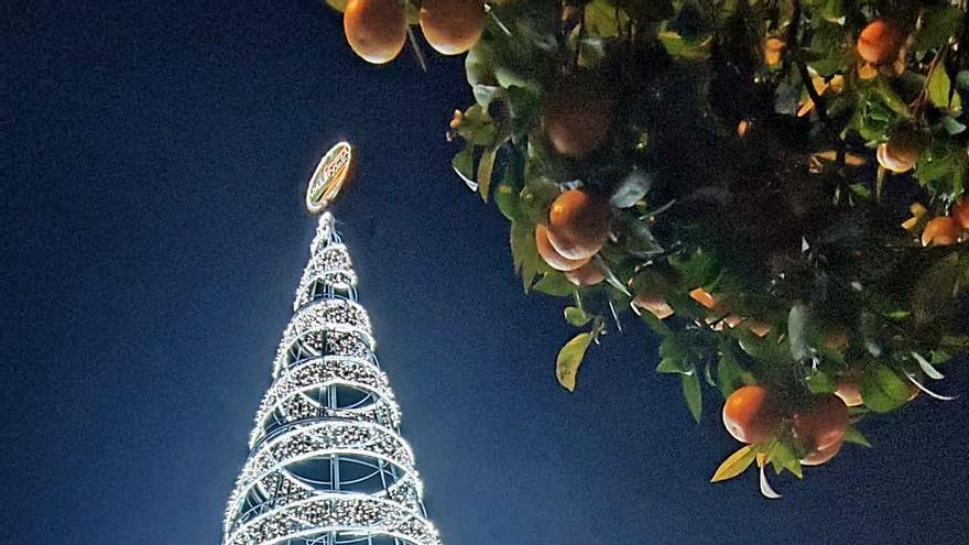 El árbol de la plaza de la Reina, ya encendido.  | ANTONIO CORTÉS