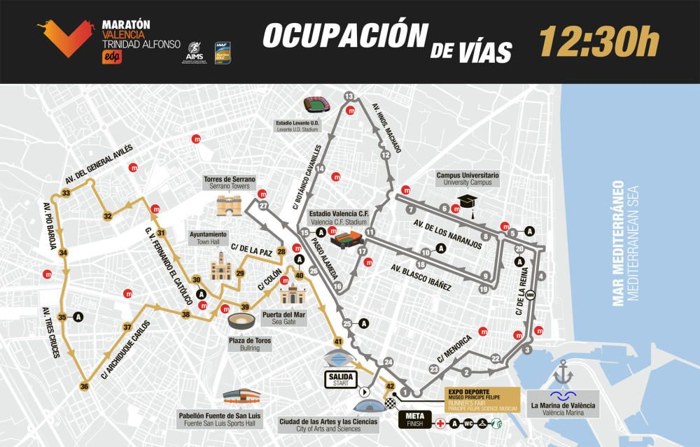 Maratón Valencia: horarios de paso para ver y animar