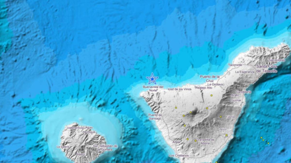 Imagen en la que se señala el epicentro del terremoto, frente a las costas de Buenavista del Norte.