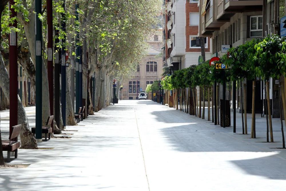 Coronavirus en Murcia: Las calles de la capital, prácticamente vacías