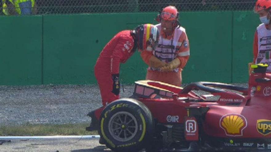 Vídeo: Carlos Sainz sufre un accidente en los libres de Monza