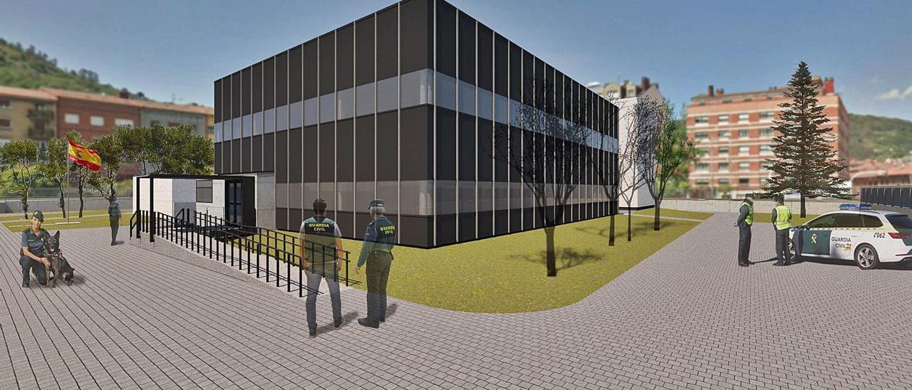Recreación virtual del proyecto del futuro cuartel de Mieres, con el edificio principal en primer término y el de viviendas, detrás.
